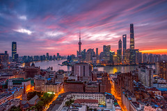 Cityscape of Shanghai City (HIKARU Pan) Tags: 1dx 24l asia canonef24mmf14liiusm china chinese eos1dx photography shanghai wideangle aerialview building city cityscape horizontal landscape nightscape outdoors sunrise