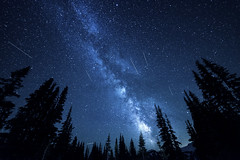 Meteor showers (jbarc in BC) Tags: milkyway meteor meteorshowers galaxy space stars trees mountrainier sunrise washington sky astrophotography mountain cold meteors perseids