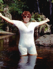 Hillsborough satisfaction, 1990 (clarkfred33) Tags: statepark nature water river florida wade 1990 soaked wetlook wetfun hillsboroughriver wetclothes wetwoman scenicstream wetadventure