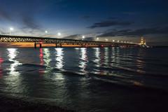 Mackinac Bridge (DJ Wolfman) Tags: mackinacbridge mackinawcity color blue red yellow michigan michiganfavorites bridges bridge sunset lakemichigan lakehuron clouds olympus olympusomd em1 zuiko 1240mmf28olympus micro43