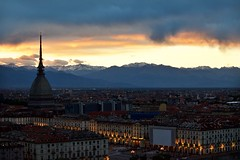Torino (ariannagiudici) Tags: city sunset panorama sun landscape torino tramonto monumento mole