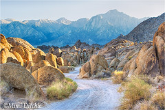 Deep Within The Alabama Hills (Mimi Ditchie) Tags: easternsierra rocks sunset hills alabamahills road curvingroad mountains sierranevadamountains lonepinepeak lonepine getty gettyimages mimiditchie mimiditchiephotography