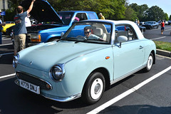 Nissan Figaro (Thumpr455) Tags: july 2016 upstate carscoffee greenville southcarolina sc auto car automobile worldcars nikon d800 afnikkor3570mmf28d nissan figaro japanese rare blue convertible rhd