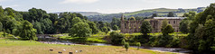Panorama of the River Wharfe and Bolton Priory. (PangolinOne) Tags: abbey architecture boltonabbey boltonpriory bridge canonef24105mmf4lisusm canoneos6d countryside ef24105mmf4lisusm england landscape panorama park places river riverwharfe ruins steppingstones summer trees uk yorkshire unitedkingdom gb