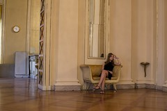 Waiting (Simon Attila Miklós) Tags: beautiful love young black theather elegant women lady girl blonde blacck dress hall