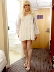 White lacy swing dress by BooHoo (SarahJane) Tags: white lace blonde curls heels pantyhose transgender tg lgbt