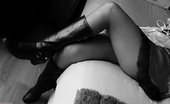 crossing legs bw (Oneras) Tags: sexy boot legs skirt thigh wife calf miniskirt milf calves piernas thights
