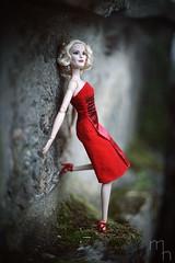 Lady In Red (lichtspuren) Tags: doll barbiemod reddress ladyinred elegant melancholic rot blond canon fd 50mm f14 ssc sony a7 barbie fairygodmother madetomovebody lichtspuren mela
