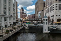 Bridges in the Itty-Bitty-City (Sharky.pics) Tags: urban city wisconsin tiltshift july cityscape 2016 miniature milwaukee downtown