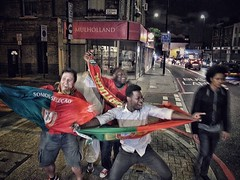 Portugal Fans Celebrate Euro 2016 Victory (Herschell Hershey) Tags: london portugal football joy fans hollowayroad euro2016