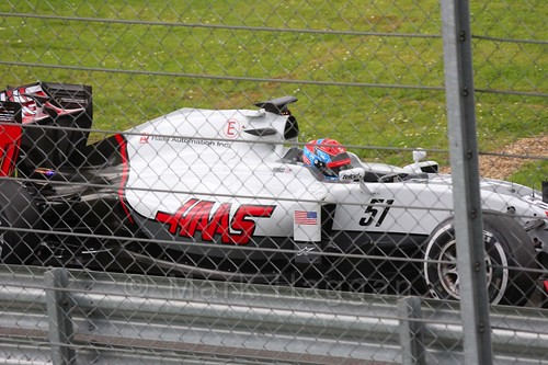 Santino Ferrucci in the Haas during Formula One In Season Testing at Silverstone, July 2016