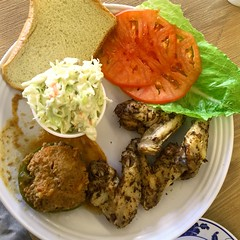 What's For Lunch? My Buffet Choices at Eli's Deli... (chicbee04) Tags: elisdeli tucson arizona lunch chicken wings coleslaw lettuce tomato wholewheatbread