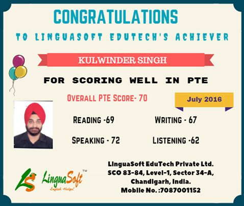 Kulwinder Singh - Overall PTE Score 70