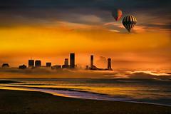 Colori (Zz manipulation) Tags: art ambrosioni zzmanipulation sera tramonto mare city porto sea luci colori giallo arancio