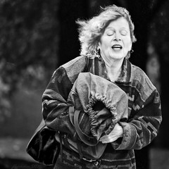 WINDBLOWN (panache2620) Tags: woman bw portrait candid streetphotography street urban city wind windblown explorer eos canon 70d female