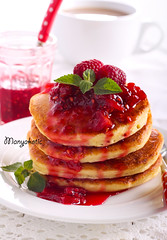 Pancakes with raspberry and peach coulis (manyakotic) Tags: berry breakfast brunch cakes cappuccino coffee compote coulis cup dessert fluffy food fritters fruit homemade jam many marmalade pancakesday pancakes pastry pile raspberry sauce snack stack sweet treat