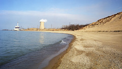 Indiana Dunes (real00) Tags: film 6x9 fujigsw69iii indiana lake shore sand dunes pollution smokestack smoke lakemichigan indianadunes landscape industrial 1999