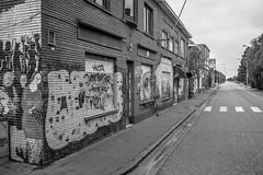 Doel IV (graufuchs) Tags: street city blackandwhite white black monochrome town blackwhite mural europe belgium belgique belgie murals sw fujifilm monochrom deserted lr lightroom belgien doel beveren lostplace einfarbig 23mm fixedfocal fujifilmx100s