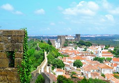 down the wall (ekelly80) Tags: portugal leiria june2016 summer bidos romancity walls citywalls townwalls fort fortification stone roofs orange houses castle view scenery down green