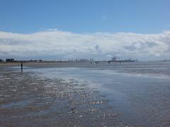 DSCF0676 (SierPinskiA) Tags: sea shells beach liverpool sand ironman pools barnacles ironwork mayday seashore merseyside anthonygormley irishsea 2016 anotherplace crosbybeach blundellsands fujixs1