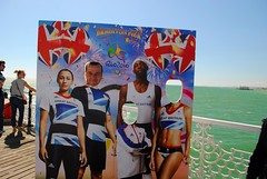 I am in Team GB (zawtowers) Tags: brighton sussex seaside resort city centre august 2016 warm sunny blue sky sunshine dry palace pier historic landmark amusement funfair fun fair opened 1899 team gb poster facing out me self portrait next jessica ennishill olympic games