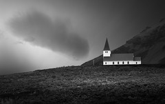 Sanctuary (vulture labs) Tags: blackandwhite church iceland vik fineartphotography vulturelabs