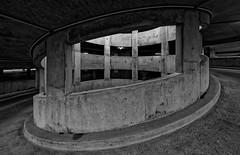Urbanitude (2) (Guillaume DELEBARRE (Guigui-Lille)) Tags: blackandwhite parking curves windows canon 6d sigma1224mmf4556iidghsm concrete urban darkness uwa ultrawideangle ultragrandangle architecture bton