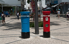 Spoiled for choice - the blue mail or the red one? (swordscookie back and trying to catch up!) Tags: postboxes red blue quarteira algarve vilamoura sunshine sets street furniture