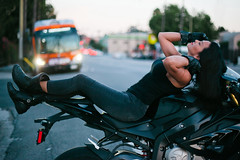 biker break (Andy Kennelly) Tags: sunset hollywood bike motorbike motorcycle break stranger bus traffic street