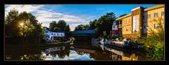 Summer Evening (Kevin From Manchester) Tags: architecture boats bridge bridgewatercanal canal canon1100d canon1855mm colorfull england greatermanchester hdr kevinwalker lancashire lighthouse monton northwest panorama panoramic reflection serene sky tranquil waterfront waterways widescreen