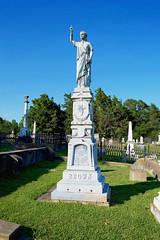Natchez City Cemetery, Natchez, Adams County, MS. (Flashlight to Streetlight) Tags: cemetery natchezms natchezcitycemetery whitebronze gravemarker tombstone zinc castzinc day daytime blue sky