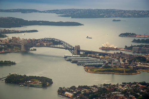 Sydney Harbour Bridge and Opera House as seen from an airplane