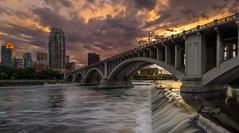 St. Anthony Falls (Minneapolis) (Paul Domsten) Tags: minneapolis mississippiriver waterfall minnesota river wellsfargo thecarlyle bluehour longexposure pentax ids bridge sunset