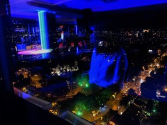 city lights in/out/above the ground (tamaratoth) Tags: blurred varna bulgaria top bar blue above floating lights city shadow girl night going out