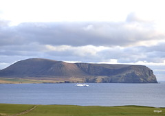 The Hamnavoe Ferry In Hoy Sound (orquil) Tags: uk greatbritain ferry island islands seaside spring orkney hill may cliffs atlantic hoy shipping cloudscape channel roro hamnavoe northlinkferries cuilags outertown hoysound kameofhoy