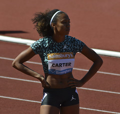 Kori Carter prepares for the 400m hurdles final (Mount Fuji Man) Tags: athletics outdoor grandprix birminghamuk 2015 diamondleague