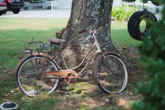 Bike and Tire (ChristianRock) Tags: ga georgia 50mm downtown pentax f14 14 p 50 norcross ricoh ks1 114 rikenon