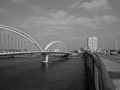 bridges over the Rhine (BZK2011) Tags: schwarzweis blackandwhite sony rx100 bw brcken bridges europabrcke trambrcke rhein oberrhein upperrhine strasburg strasbourg frankreich france elsass hochhaus