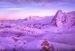 Eiger Sunset (robertdownie) Tags: mist fog switzerland mountains clouds rock rocks snow mountain ice peak alps hut eiger grindelwald jungfrau bern inversion oberland bernese nordwand lauterbrunnen berne eigerwand swisse mordwand