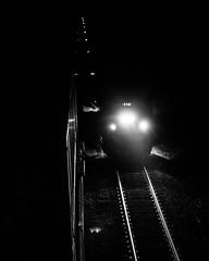 Amtrak 13 passing the stopped NS 214 at Arrowhead (bdunn829) Tags: nightphotography railroad blackandwhite monochrome night ns trains nightsky 13 arrowhead norfolksouthern railfanning amtrak13 arrowheadvalleyroad