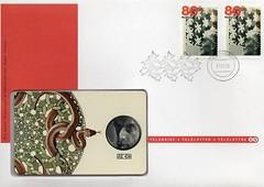 M.C. ESCHER (streamer020nl) Tags: holland stamps nederland 1998 escher phonecard mce mcescher briefmarken postzegels telefoonkaart teleletter draaikolken ringslangen telebrief