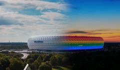 Night and Day at the Arena (joseph_donnelly) Tags: night germany munich mnchen bayern bavaria lights rainbow day transition csd transform affinity