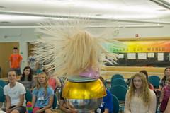 Hair Raising Fun at Chip Camp (aaronrhawkins) Tags: chipcamp kids teens teenagers staticelectricity vandegraaff generator hairstickingup hair esd static electricity demonstration barbie byu brighamyounguniversity learning stem girls 2016 aaronhawkins