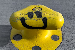 Happy Bollard (Jori Samonen) Tags: bollard yellow happy smiley helsinki finland nikon d3200 350 mm f18