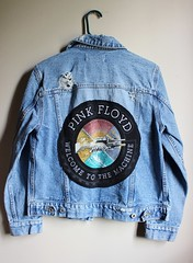 Vintage 90's Men's Distressed and Faded Pink Floyd Back Patch Denim Jacket (shopthegasstation) Tags: old music rock vintage jean coat ripped band guys pinkfloyd retro gasstation jacket mens denim etsy patch distressed unisex 90s frayed outerwear welcometothemachine backpatch