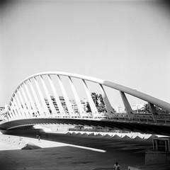 Over the Bridge (rafa.esteve) Tags: valencia architecture mediumformat 1x1 ilfordfp4plus125 blackandwhite blackwhite bridge