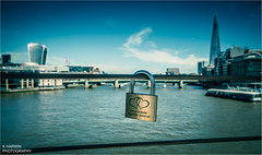 __I__[]__I__ (Kevin HARWIN) Tags: river thames water pad lock love message 20 fenchurch street shard tall buildings blue sky sun bright gold london england britain uk canon eos 70d sigma1020mm lens