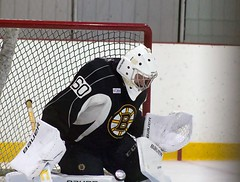 Zane McIntyre (Odie M) Tags: boston wilmington ristucciamemorialarena bostonbruins developmentcamp rookies 2016developmentcamp nhl hockey icehockey teamsport sport zanemcintyre save puck goalie