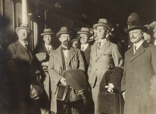 The peacemakers: George Gavan Duffy, Erskine Childers, Robert Barton and Arthur Griffith in a group