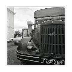 the attendant  bel air, burgundy  2016 (lem's) Tags: attendant gas station service essence pompiste bel air bourgogne burgundy vintage nationale 6 n6 hasselbald 500cm berliet truck camion ford mustang